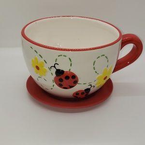 Ladybug Teacup and Saucer Planter Pot.